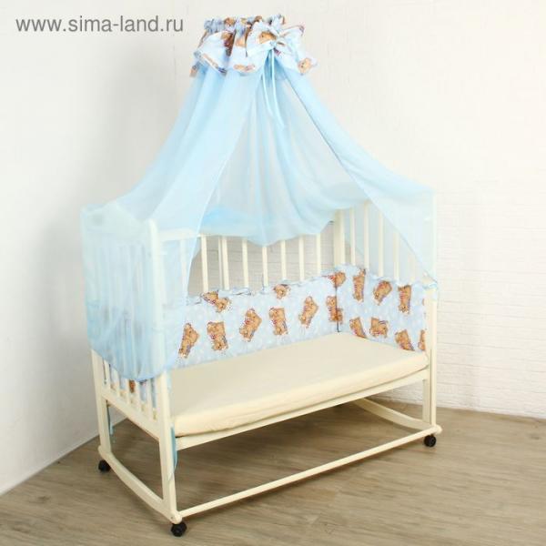 """Комплект в кроватку """"Спящие мишки"""" (2 предмета), цвет голубой 15152"""