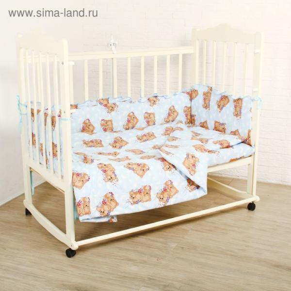 """Комплект в кроватку """"Спящие мишки"""" (4 предмета), цвет голубой 415/1"""