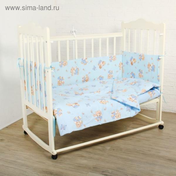 """Комплект в кроватку """"Мишки с мёдом"""" (6 предметов), цвет голубой 62/1"""