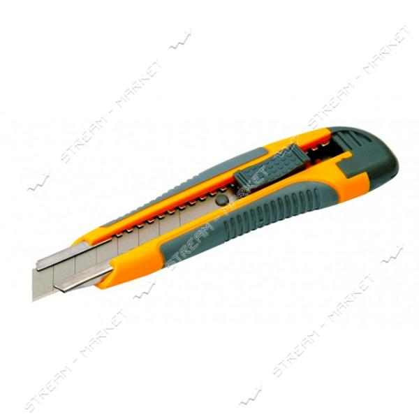 Нож MASTERTOOL 17-0119 18мм с метал. направляющей, кнопочный фиксатор 2 лезвия