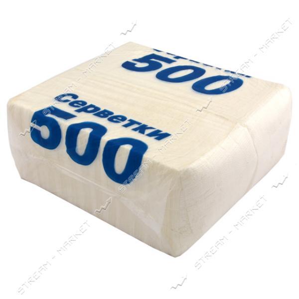 Салфетки столовые однослойные белые синяя надпись 23x23 см 500 шт