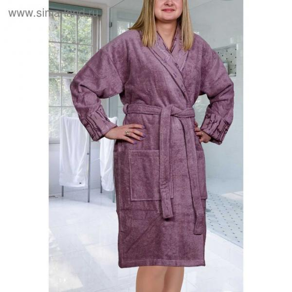 Махровый халат Eliza, размер L, цвет тёмно-фиолетовый