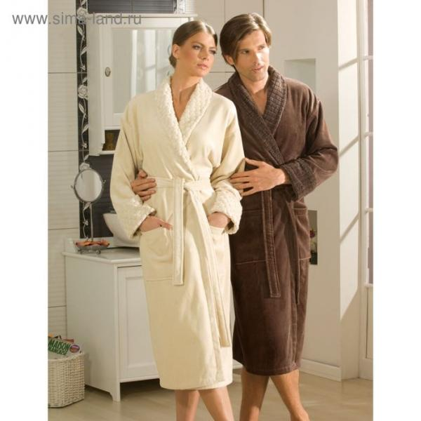 Махровый халат Angora, размер S, бежевый