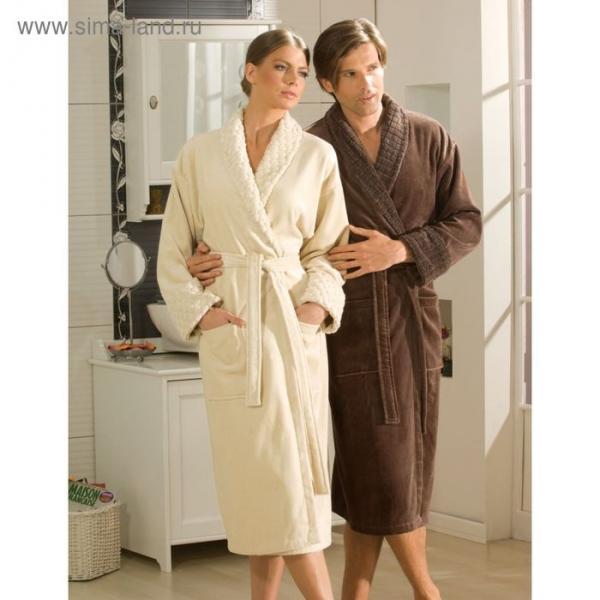 Махровый халат Angora, размер XXL, цвет коричневый
