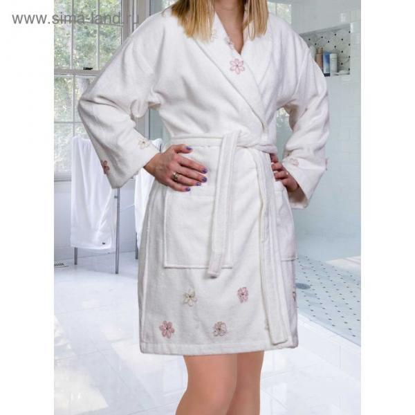 Махровый халат с вышивкой Janet, размер S, цвет кремовый