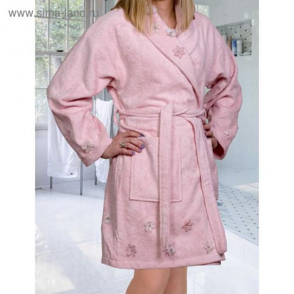 Махровый халат с вышивкой Janet, размер M, цвет пудра