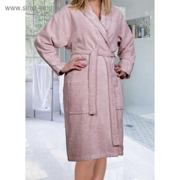 Махровый халат Eliza, размер L, цвет пудра