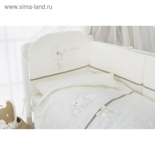Комплект в кроватку Le petit bebe, 4 предмета, цвет молочно-оливковый