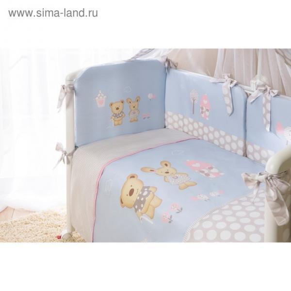 Комплект в кроватку «Венеция», 4 предмета, цвет голубой