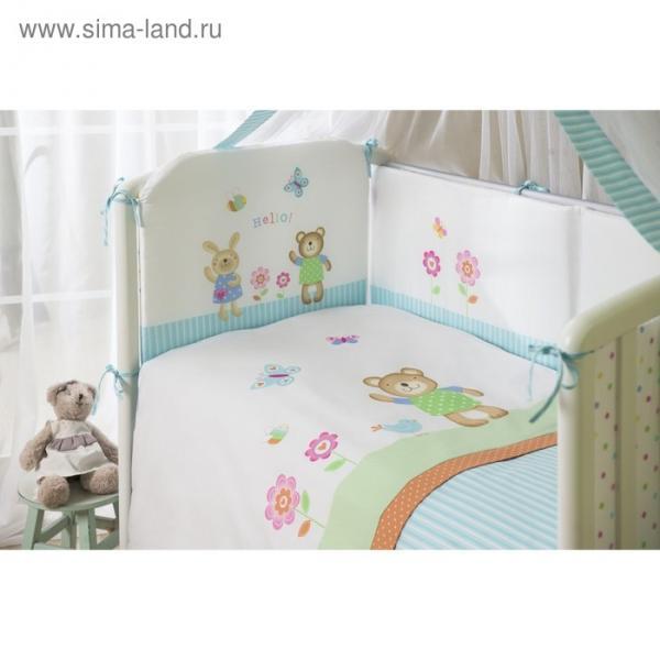 Комплект в кроватку «Глория», 4 предмета, цвет бирюзовый