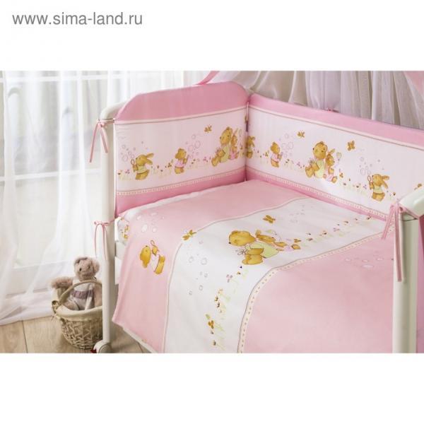 Комплект в кроватку «Фея», 4 предмета, цвет розовый