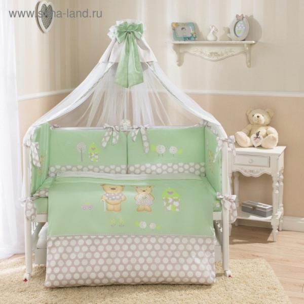 Комплект в кроватку «Венеция», 7 предметов, цвет салатовый