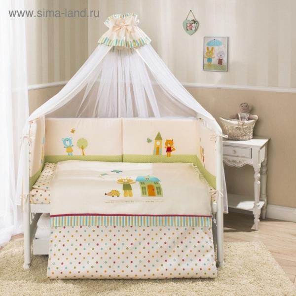Комплект в кроватку «Глория», 7 предметов, цвет бежевый