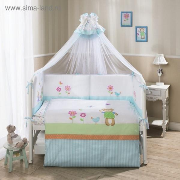 Комплект в кроватку «Глория», 7 предметов, цвет бирюзовый