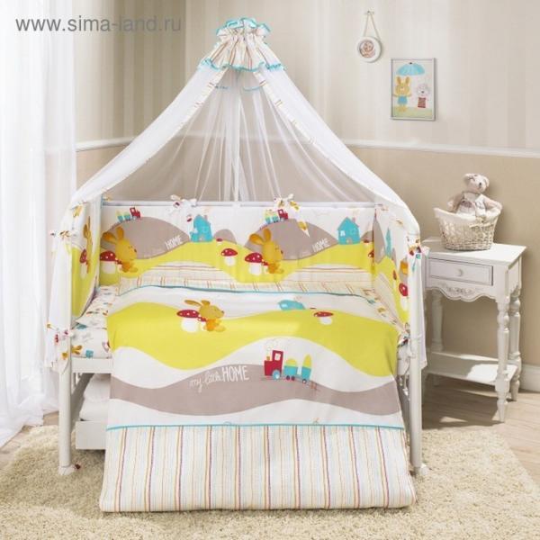 Комплект в кроватку «Кроха», 7 предметов, цвет белый