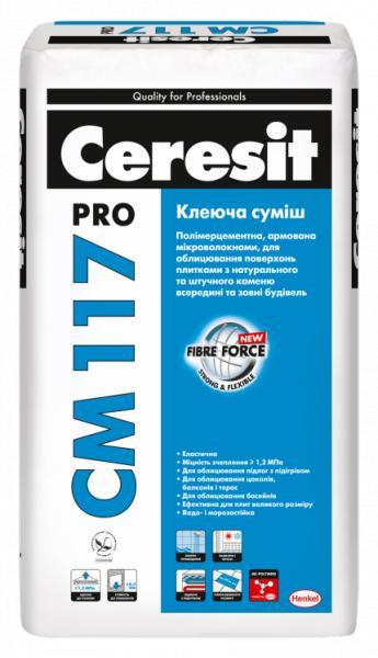 Клей эластичная клеящая для натурального камня Ceresit CM 117 ПРО (27 кг)