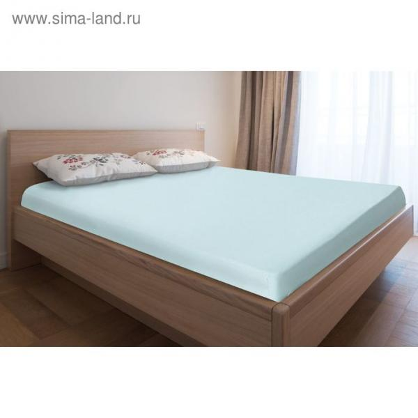 Простыня трикотажная на резинке, 180х200х20, цвет голубой, 125 гр/м2