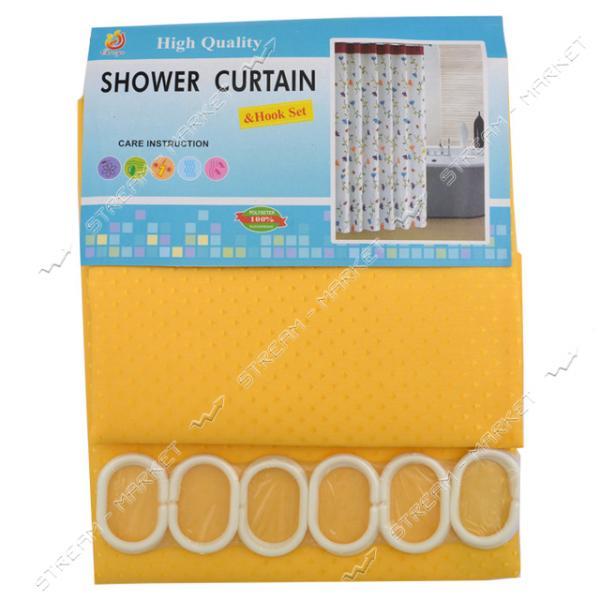 Штора для ванной комнаты Пика желтая 180х180см