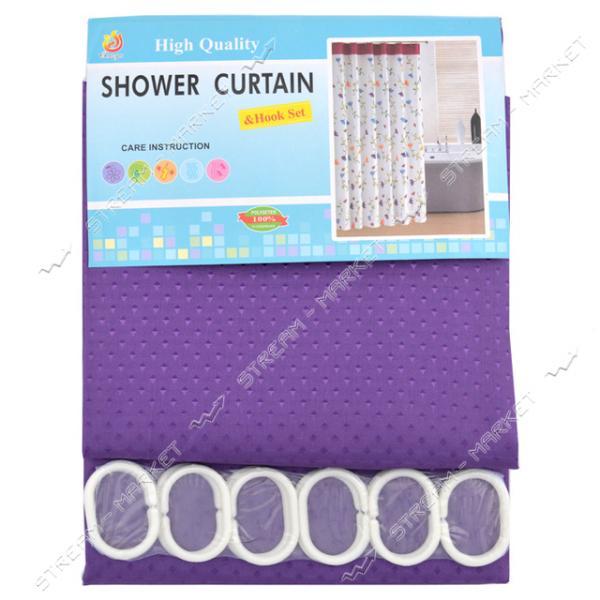 Штора для ванной комнаты Пика фиолетовая 180х180см