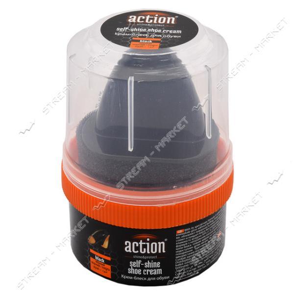 'ACTION & SHOW' крем-блеск для обуви в банке с губкой 50 мл (чёрный)