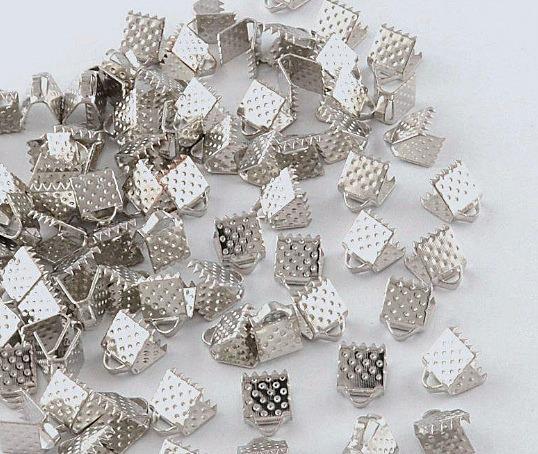 Фото Фурнитура для бижутерии, шнуры с застёжкой Зажим  6 мм.  под  белое  Серебро .  Упаковка  10 шт.