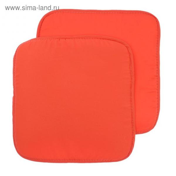 Набор подушек на стул - 2 шт., размер 34х34 см, цвет коралловый