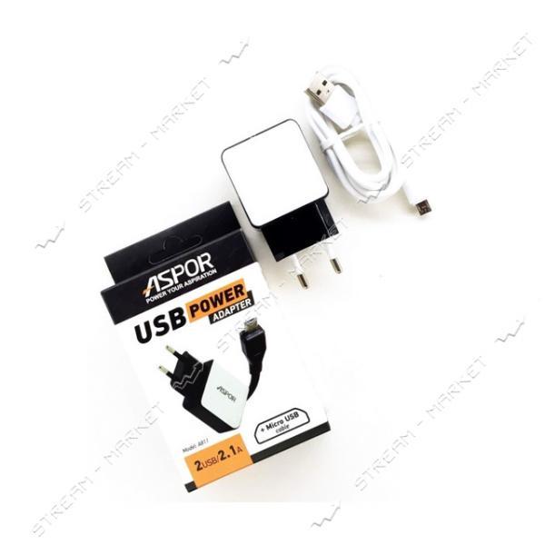 Сетевое зарядное устройство Aspor А811 5V/2.1A 2USB плюс Lightning кабель цвет белый