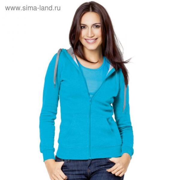 Толстовка женская StanStyle, размер 50, цвет бирюзовый-серый меланж 280 г/м