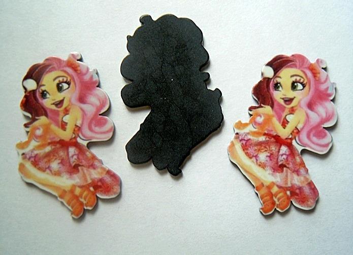 Фото Серединки ,кабашоны, Кабашоны детские мультики Пластиковая  Cерединка  Enchantimals   27 * 43 мм. ( с розовыми  волосами  и  в  платье )