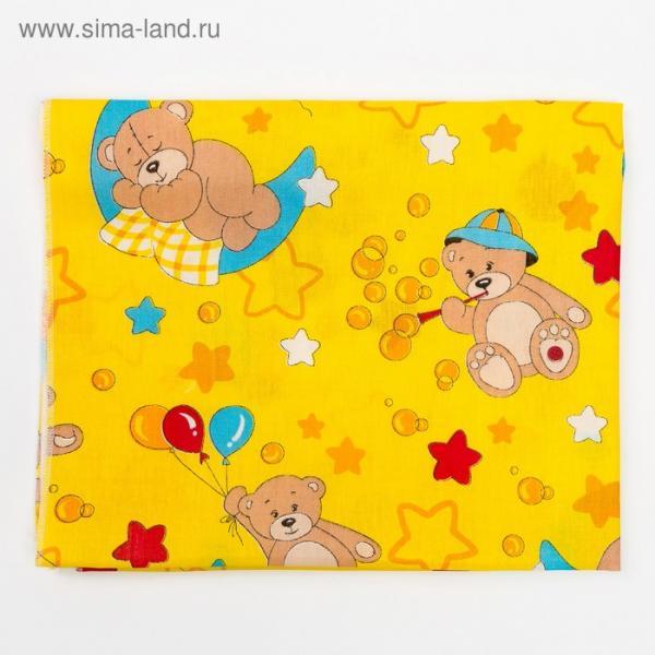 Пеленка, размер 75 х120 см, цвет желтый принт микс