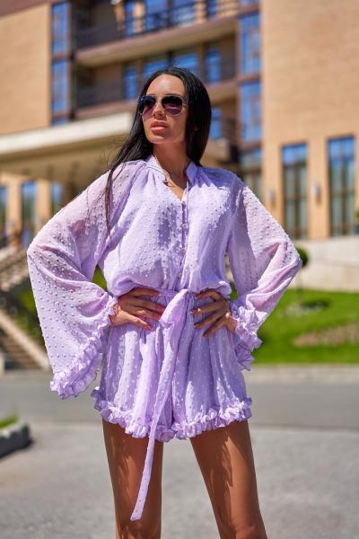 Шифоновый летний комбинезон с шортами фиолетовый
