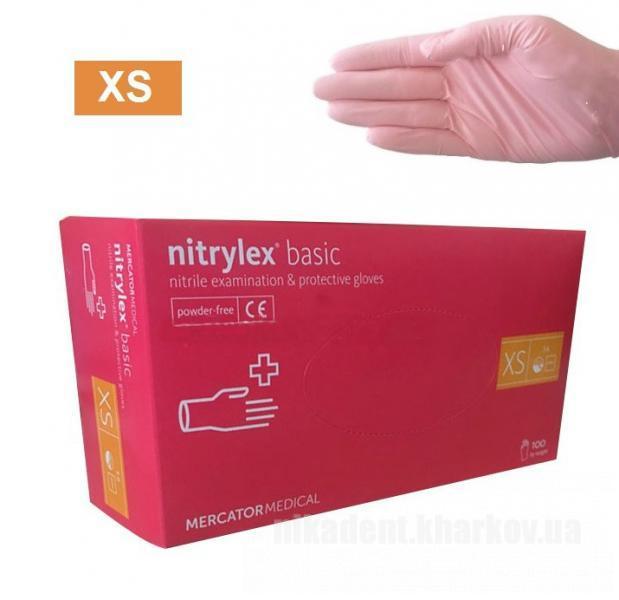 Фото Для стоматологических клиник, Расходные материалы Перчатки нитриловые розовые Nitrylex Basic (100 шт.)