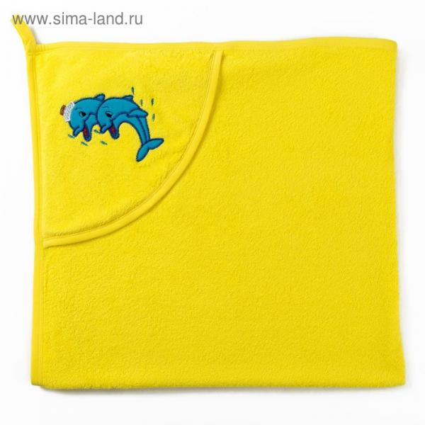 Полотенце с уголком и рукавицей, размер 90х90, цвет желтый, махра, хл100%