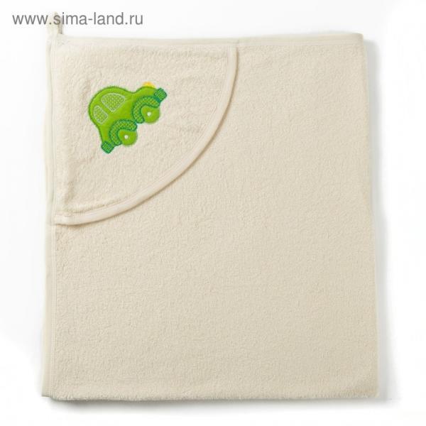 Полотенце с уголком и рукавицей, размер 90х90, цвет белый, махра, хл100%