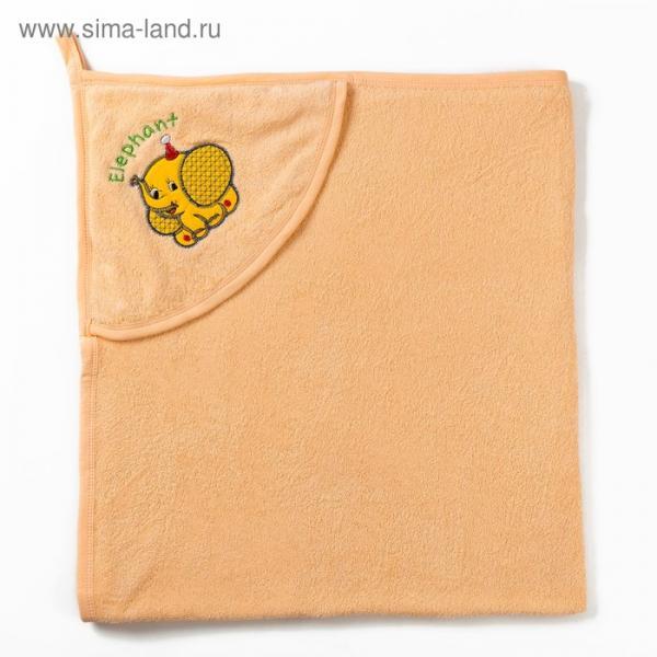 Полотенце с уголком и рукавицей, размер 90х90, цвет бежевый, махра, хл100%