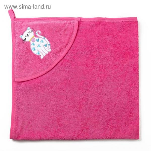 Полотенце с уголком и рукавицей, размер 90х90, цвет розовый, махра, хл100%