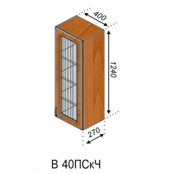 Оля 40 верх пенал витрина (чеш.стекло)