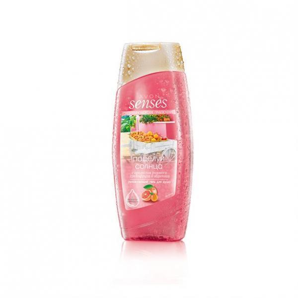 Фото парфюмерия, гели для душа Увлажняющий гель для душа с ароматом розового грейпфрута и абрикоса «Средиземноморские приключения. Поцелуи солнца»
