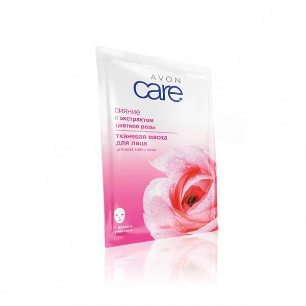 Фото для лица, по возрасту, для любого возраста Тканевая маска для лица с экстрактом цветков розы «Сияние»