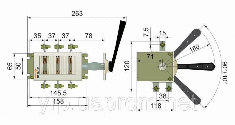 Рубильник ВР перекидной 100А ВР3231В70250 правый / левый