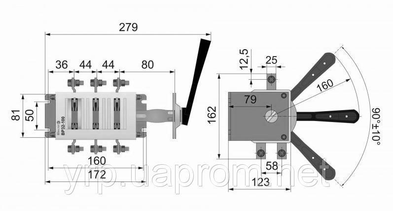 Рубильник перекидной ВР 250А ВР3235В70250 правый / левый