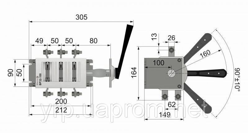 Рубильник ВР 400А на два направления ВР3237В70250 цена с НДС