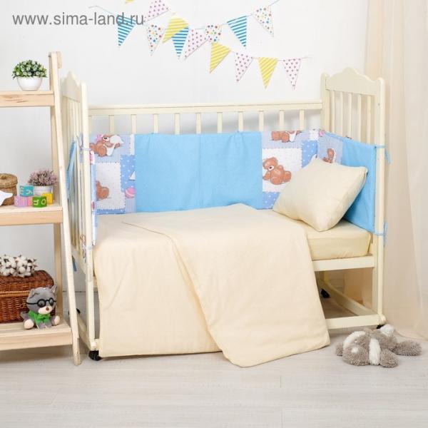 Бортики в кроватку 60x120 см мишки на голубом, горошек на голубом, ППУ, хл 100%, бязь 140г/м   28697