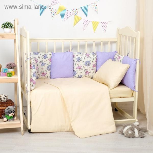 Бортики в кроватку 60x120 см мышки, горошек на фиолетовом, холлофайбер, хл 100%, перкаль 140   28697