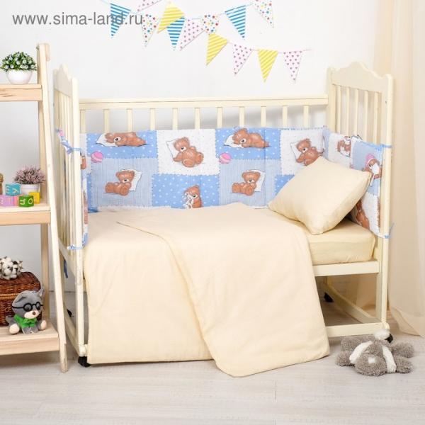 Бортики в кроватку 60x120 мишки на голубом, синтепон, хл 100%, бязь 140г/м