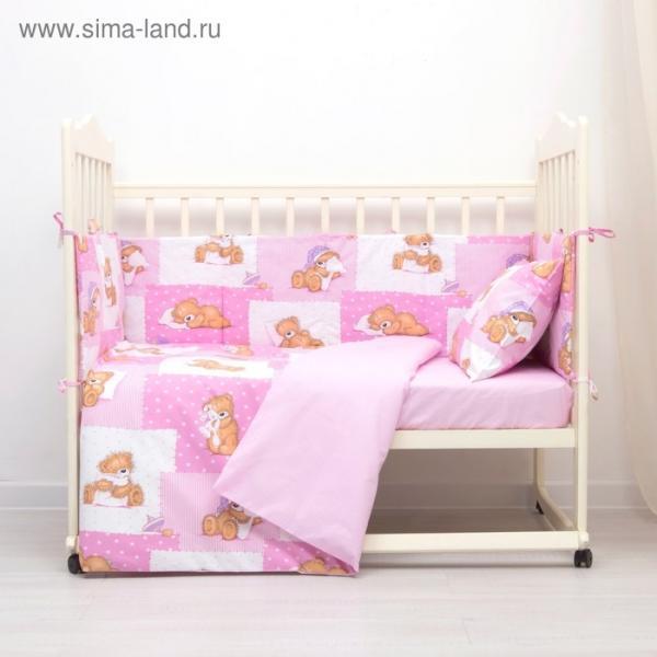 Комплект в кроватку (4 предмета), диз. мишки на розовом/горошек на розовом