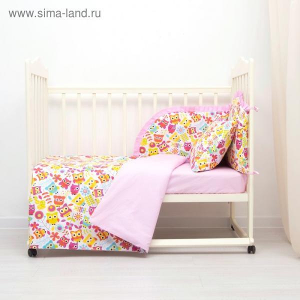 Комплект в кроватку (4 предмета), диз. совята с горошком на розовом,  синтепон