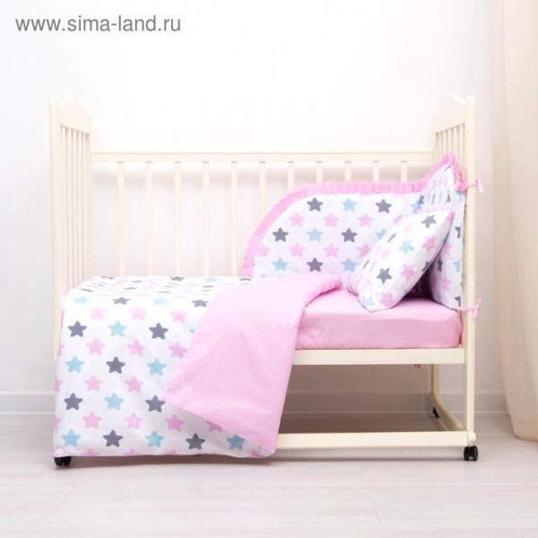 Комплект в кроватку (4 предмета), диз. пряники: серый, роз, гол/горошек на роз, синтепон