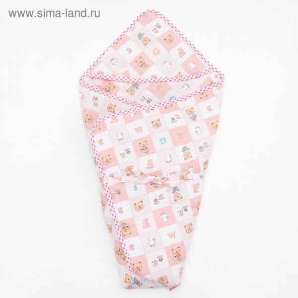 """Конверт для новорожденного """"Мишка"""", теплый, на завяках, цвет розовый"""