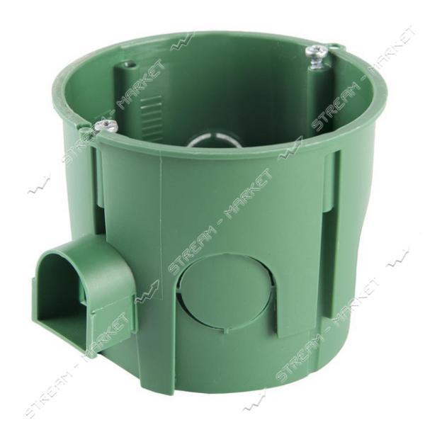 Коробка монтажная Кова 65х60 в бетон стыковочная-ушко углубленная зеленая